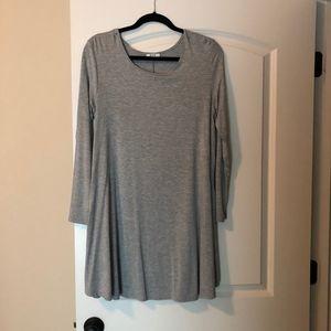 Piko long sleeve gray swing dress